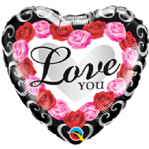 "Love You Red Rose Frame Balloon (18"") 1pc"
